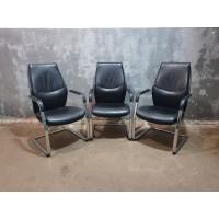 Кресло бюрократ jons-LOW-V, на полозьях, кожа, Кресло-КП005