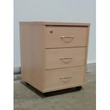 Тумба подкатная 3 ящика, цвет бук, б/у